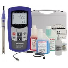Водонепроницаемый портативный измеритель pH SET GMH 5550 pH/ОВП с ПО, USB-кабелем, комплектом аксессуаров и кейсом для транспортировки